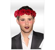 Jensen Ackles Wearing Makeup and a Flower Crown Poster