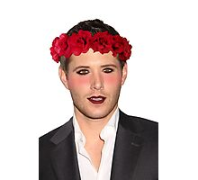 Jensen Ackles Wearing Makeup and a Flower Crown Photographic Print