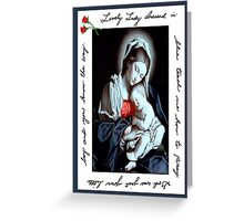 Handwritten religious, Lovely Lady Dressed in Blue Greeting Card
