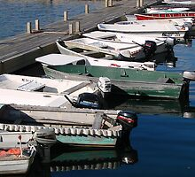 Skiffs at Dock, Bar Harbor, ME by Dan Hatch