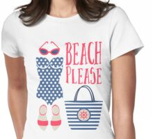 Beach Please Fashion Set Womens Fitted T-Shirt