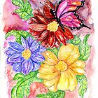 Flowers and Butterfly by AnnArtshock