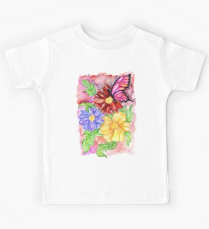 Flowers and Butterfly Kids Tee