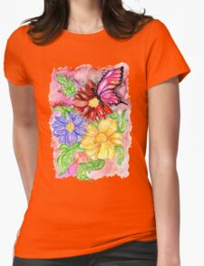 Flowers and Butterfly Womens Fitted T-Shirt