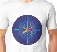 Kayak Compass Rose on white Unisex T-Shirt
