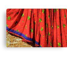Red Sari Dress on Wall, Rajsthan (India)  Canvas Print