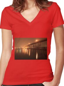 Matanzas Pass Bridge Women's Fitted V-Neck T-Shirt