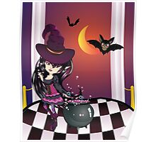 Halloween Witch on Balcony Poster