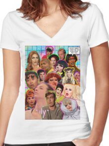 Rpdr Funny queen faces  Women's Fitted V-Neck T-Shirt