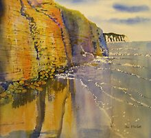Reflections in Gold - Sewerby Cliffs by Glenn Marshall