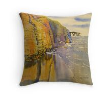 Reflections in Gold - Sewerby Cliffs Throw Pillow