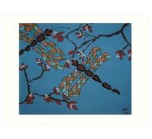 Dragonflies and Cherry Blossoms Art Print