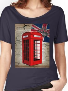 rustic grunge union jack retro london telephone booth Women's Relaxed Fit T-Shirt
