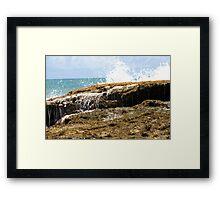 sea wave crashing the rocks Framed Print