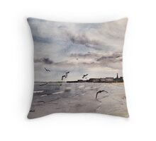 Sand, Sea and Gulls Throw Pillow