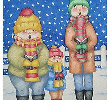 funny carol singers in the snow Christmas art by pollywolly