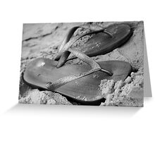 silver brazilian sandals of strips flipflops Greeting Card
