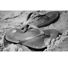 silver brazilian sandals of strips flipflops Photographic Print