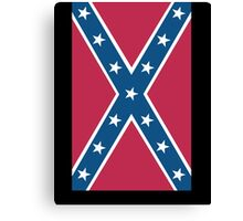 Confederate, Southern Cross, Rebel, Dixie, Flag, on BLACK, America, American, Portrait, Pure & Simple, pre USA Canvas Print