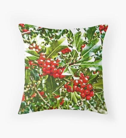 Holly and Berries Throw Pillow