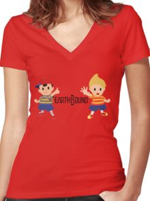 Earthbound - Ness and Lucas Women's Fitted V-Neck T-Shirt