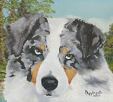 Rowdy ~ Australian Shepherd ~ Oil Painting by Barbara Applegate