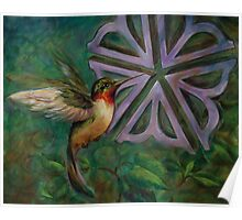 HummingBird with Rochester Flower Poster