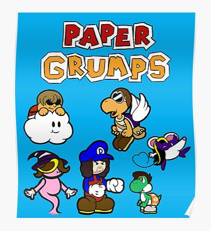 Paper Grumps Blue Poster