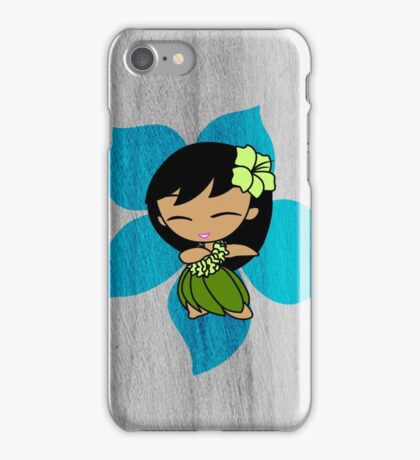 Aloha Honeys Hawaiian Hibiscus Hula Girl - Turquoise iPhone Case/Skin