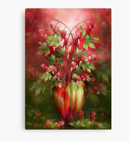 Bleeding Hearts In Heart Vase Canvas Print