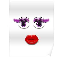 Purple Eyes With Lips Poster