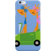 Giraffes and Car  Blue iPhone Case/Skin