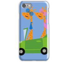 Giraffes and Car  Blue iPhone Case/Skin
