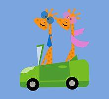 Giraffes and Car  Blue by Vitta