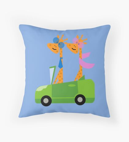 Giraffes and Car  Blue Throw Pillow