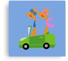 Giraffes and Car  Blue Canvas Print