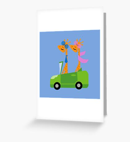 Giraffes and Car  Blue Greeting Card