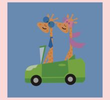 Giraffes and Car  Blue Kids Clothes