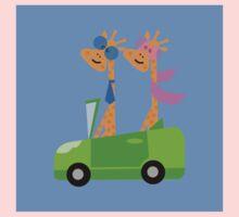 Giraffes and Car  Blue One Piece - Long Sleeve