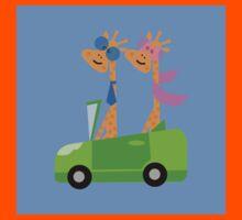 Giraffes and Car  Blue Kids Clothes