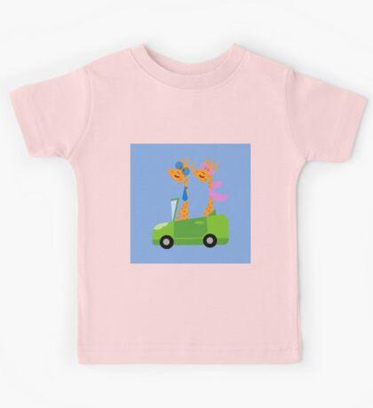 Giraffes and Car  Blue Kids Tee