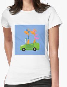 Giraffes and Car  Blue Womens Fitted T-Shirt