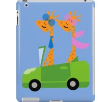 Giraffes and Car  Blue iPad Case/Skin
