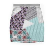 PATCHWORK crazy pattern, purple, teal, pink and grey, gray Mini Skirt