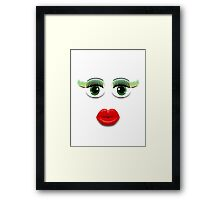 Green Eyes With Lips Framed Print
