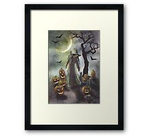 A witchy walk on a misty Halloween. Framed Print