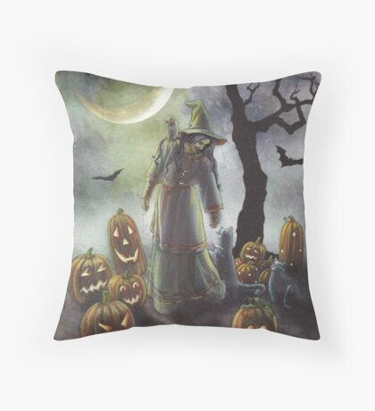 A witchy walk on a misty Halloween. Throw Pillow