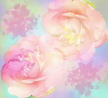 Pastel Camellia's and Lillies on a abstract background by walstraasart
