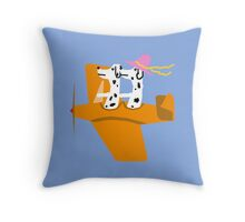 Airplane and Dalmatians  Blue Throw Pillow