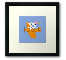 Airplane and Dalmatians  Blue Framed Print